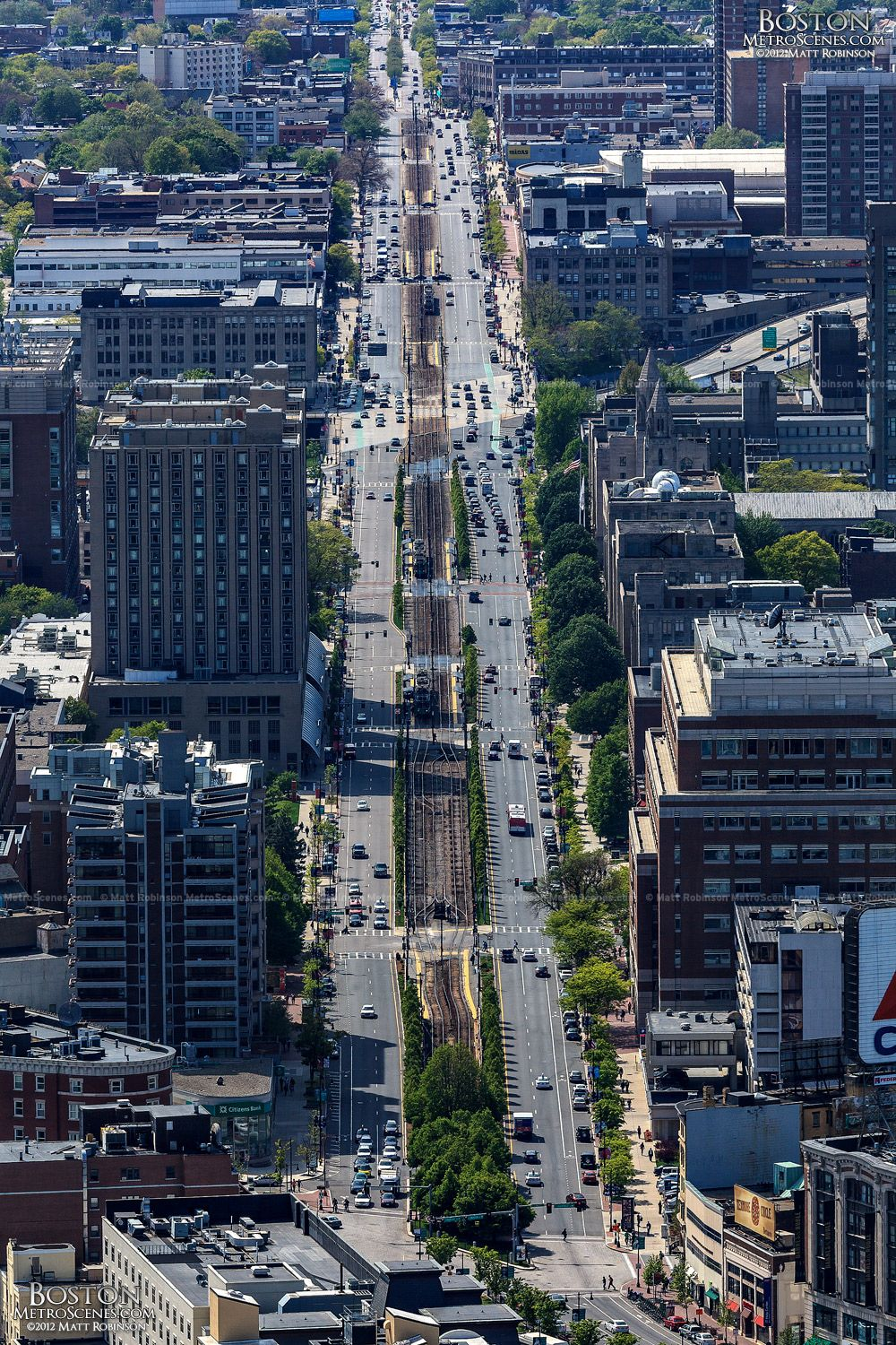 A very complete street in Boston, with light rail and bike ...