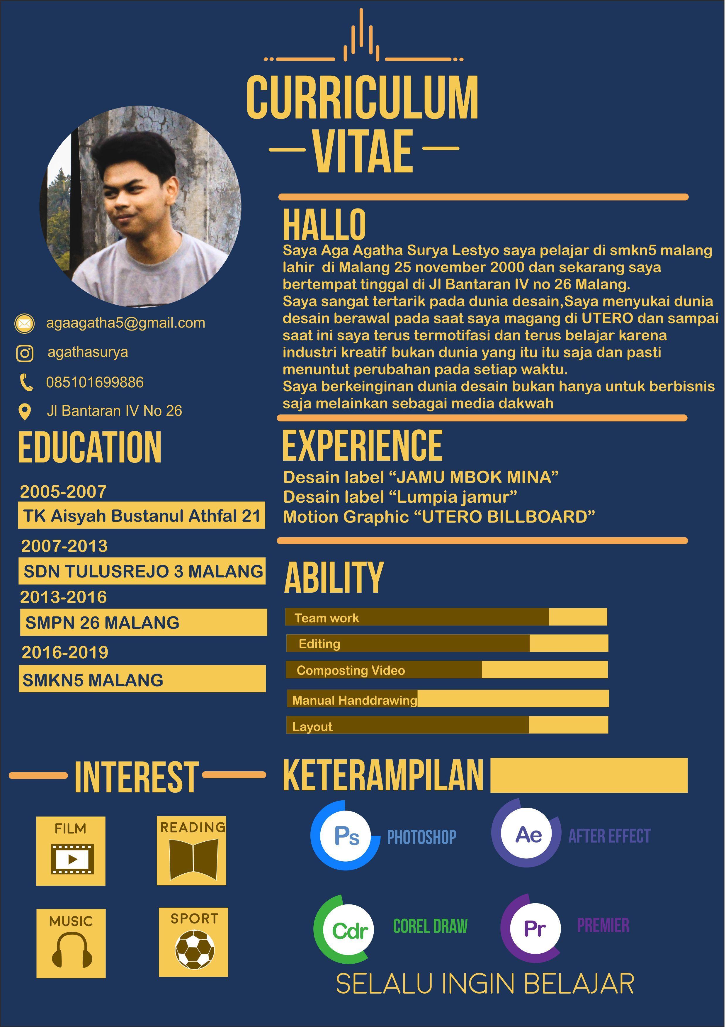 Curiculum Vitae Cv Perkenalan Diri Curriculum Vitae Coreldraw Cv Kreatif Creative Cv Template Desain Resume