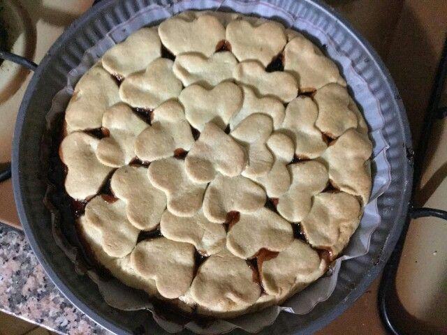 Crostata di Fragole con cuori di pasta frolla