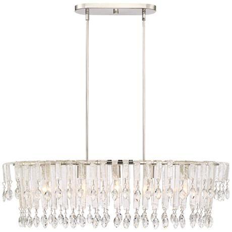 Patrina Crystal 35 1 2 W 5 Light Nickel Island Chandelier 9h757 Lamps Plus Chandelier Lamps Plus Light