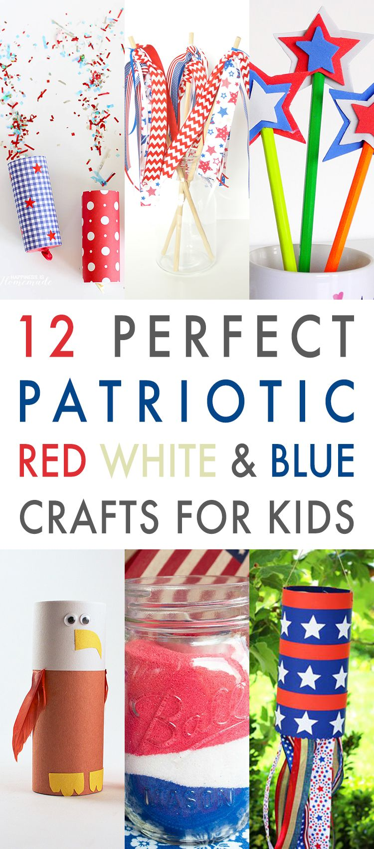 12 Perfect Patriotic Red White and Blue Crafts for Kids #labordaycraftsforkids