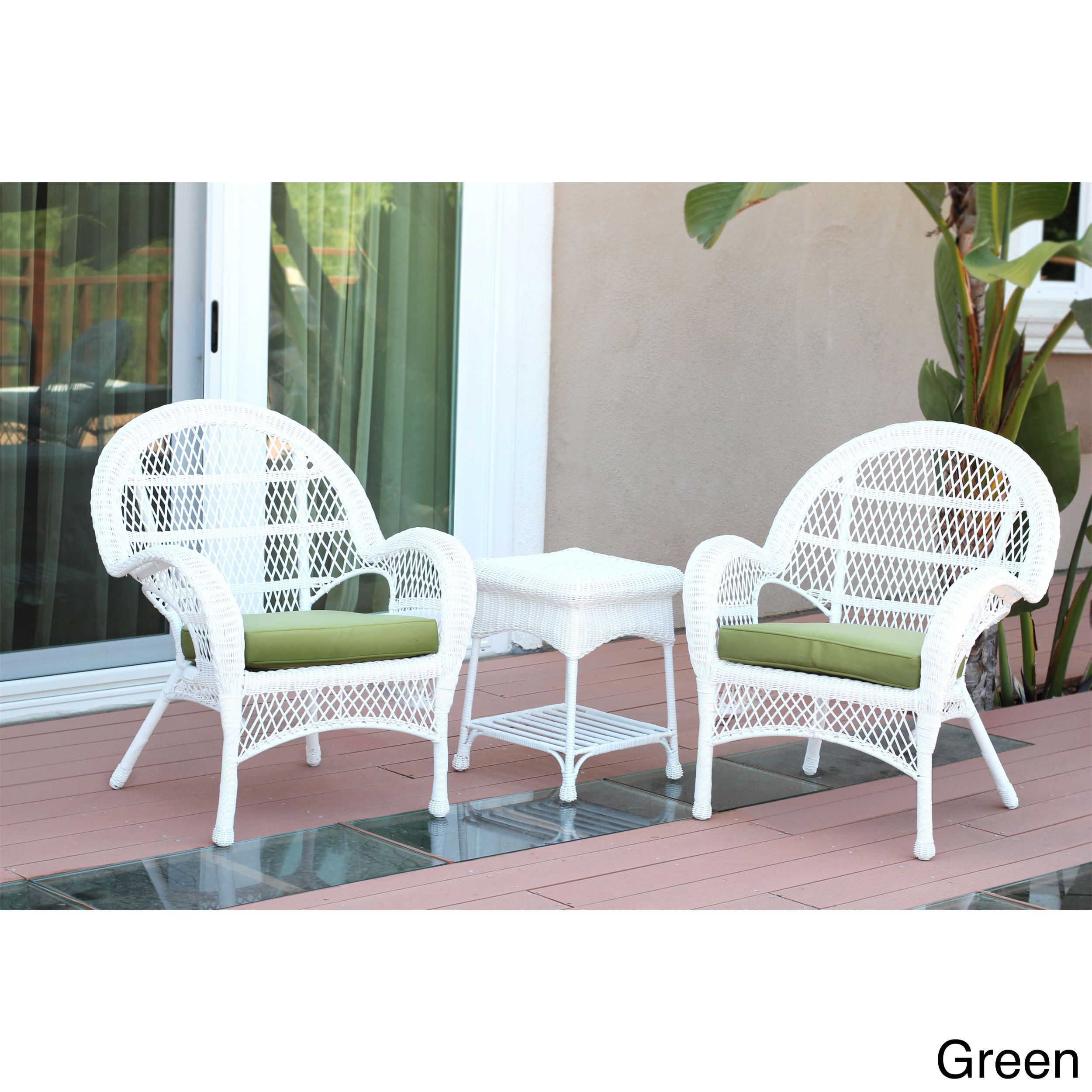 Jeco Santa Maria White Wicker Chair And End Table Set With Cushions