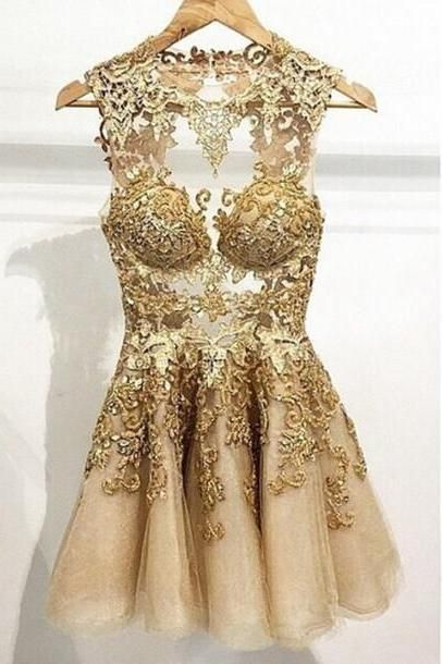 745bd639f55b Appliques Short/Mini Homecoming Dresses,Gold Party Dresses, O-Neck  Homecoming Dresses