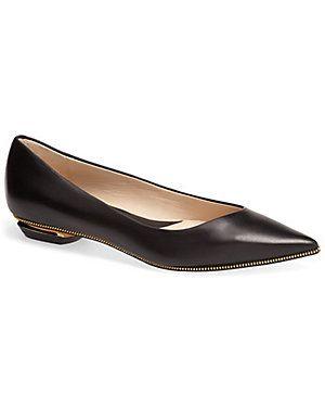 Carolinna Espinosa Sandra Leather Pointy-Toe Flat