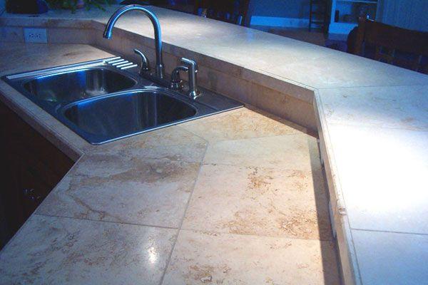 Custom Travertine Tile Countertops Outdoor Kitchen Countertops
