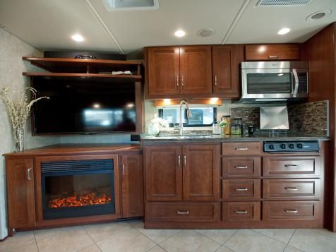 Take The 2014 Rv Tour Hgtv Fireplace Built Ins Kitchen Fireplace Freestanding Fireplace