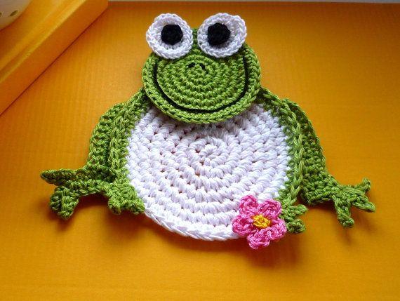 Crochet Frog Pattern - Frog Coaster Pattern - Frog Crochet Coaster ...