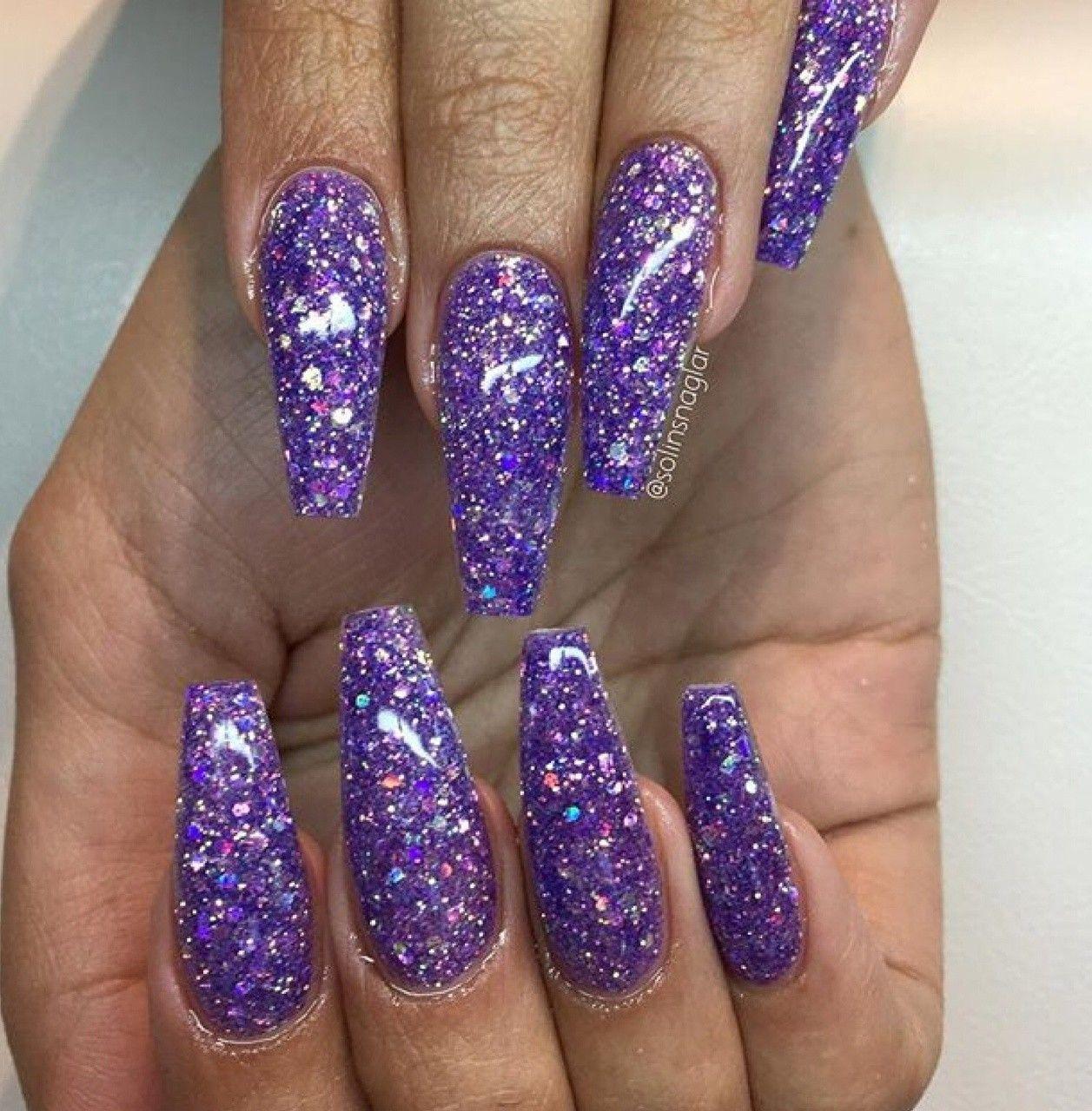 Pin by Vilvin Martinez on Nails | Purple glitter nails ...