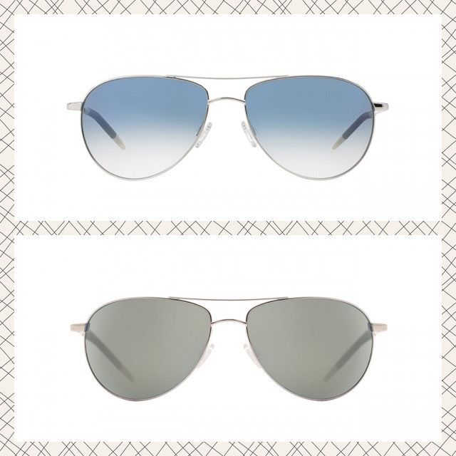 $425 Unisex OLIVER PEOPLES Benedict Aviator Sunglasses Silver, Gold, Sapphire