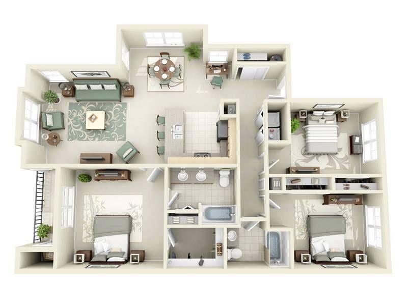 3d House Wohnung GrundrisseRaumaufteilungArchitekturSkizzenWohnenRund
