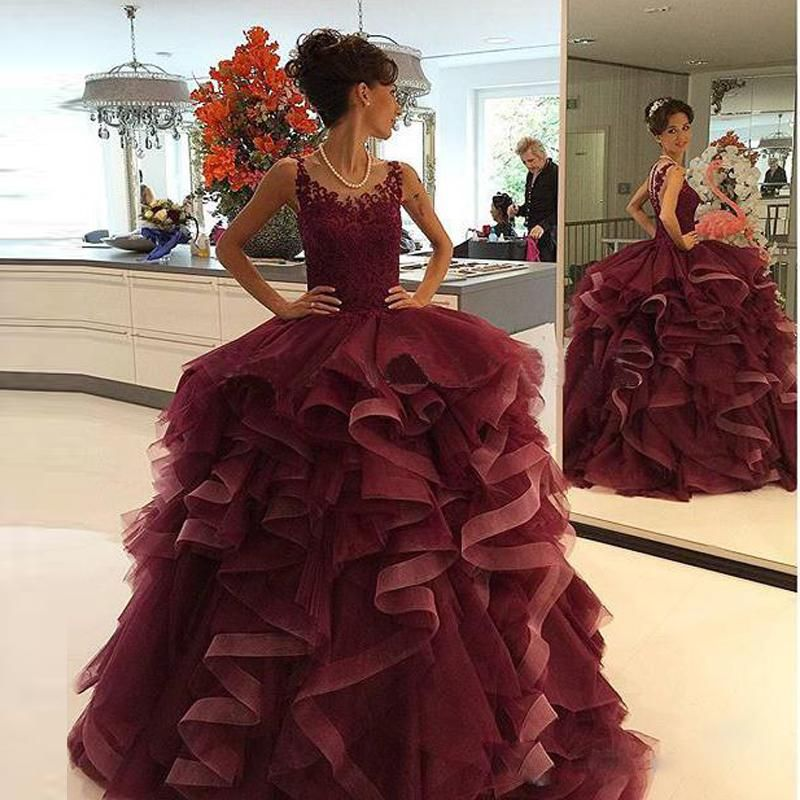 2016 Burgundy Ball Prom Gowns Beautiful Pretty Quinceanera