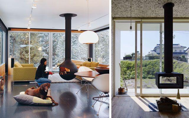 28 ideas para decorar el salón con chimeneas modernas de tiro visto - chimeneas modernas