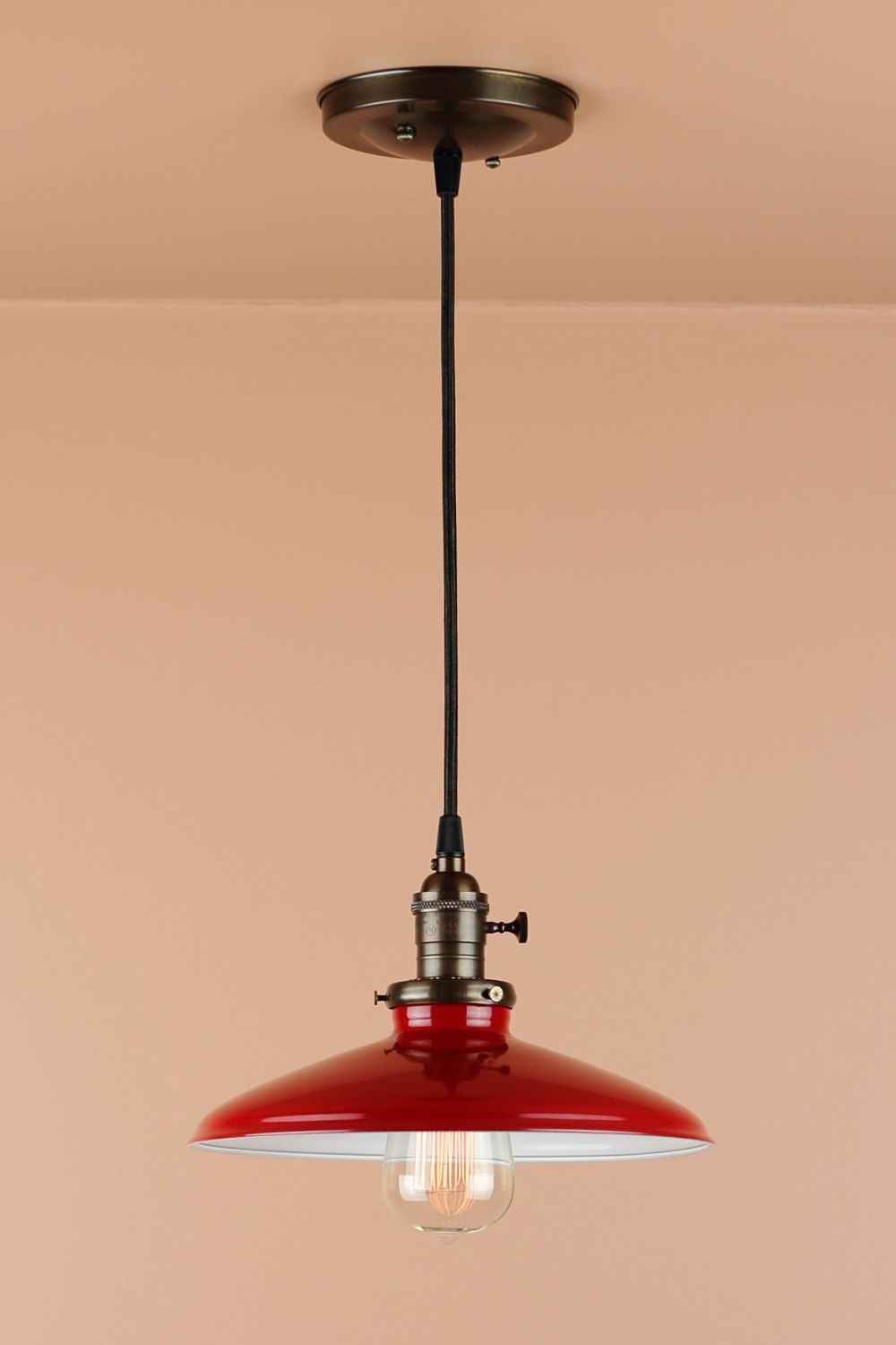 red pendant lighting. Pendant Lighting W/ 10 Inch Cherry Red Porcelain By BlueMoonLights - I Purchased This Light