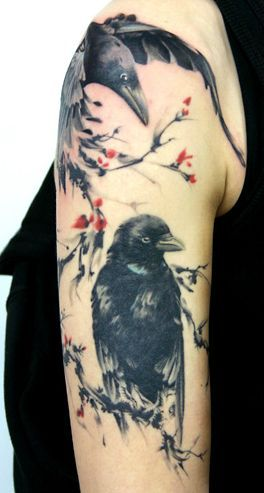 758e68a6d 38 Superb Crow and Raven Tattoos | tattoo board | Raven tattoo ...