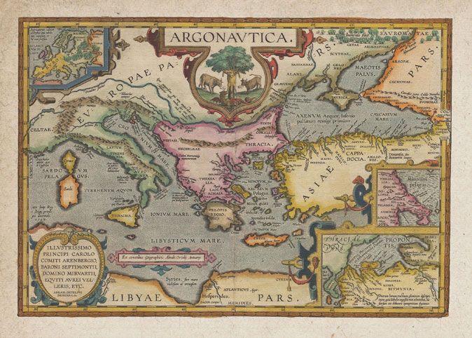 Voyage of the Argonauts, from the 1603 Latin edition of the Theatrum Orbis Terrarum of Abraham Ortelius (1527-1598)