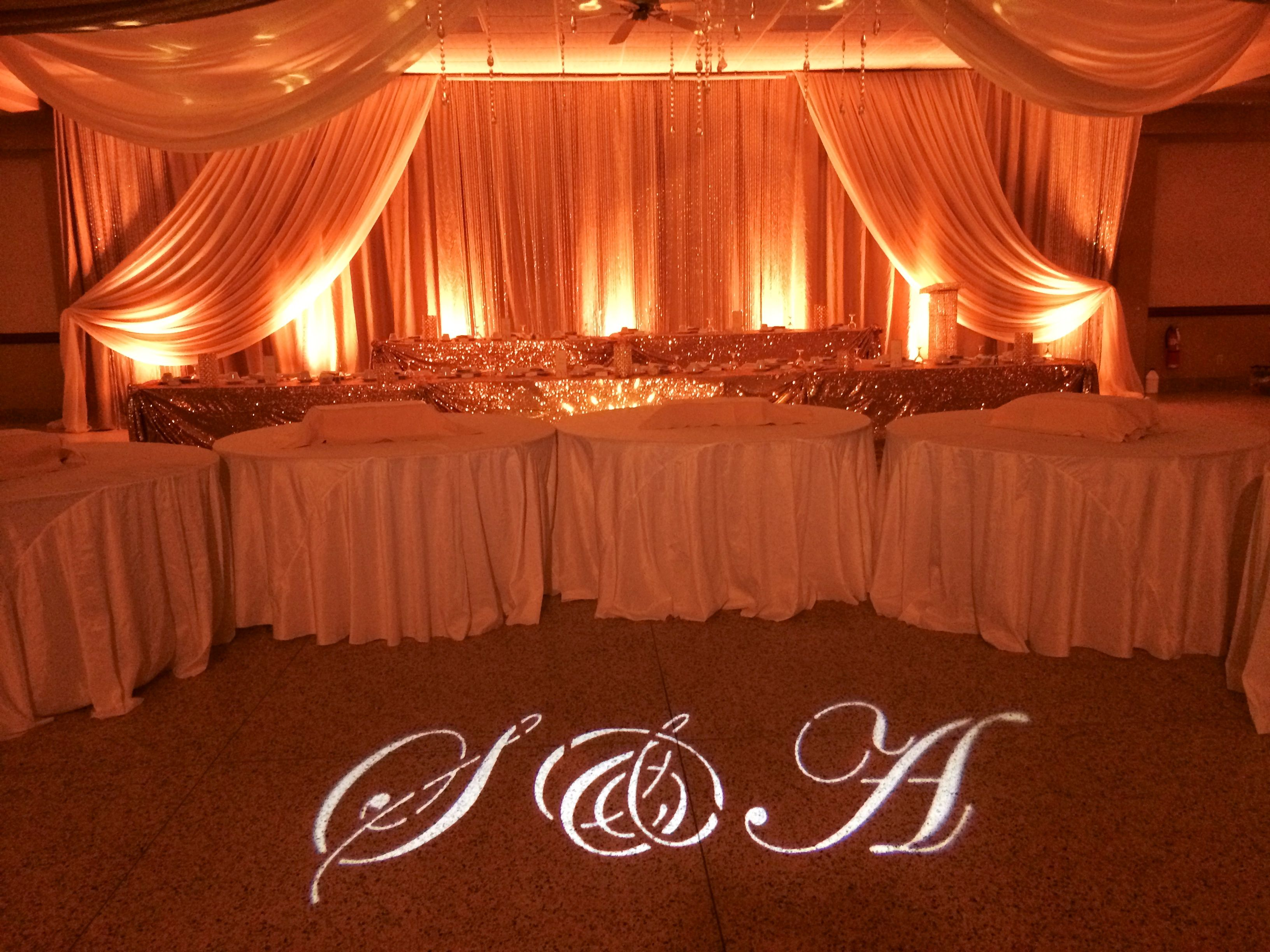 Custom Initial Gobo Effect U0026 Uplighting (Candlelight Color).