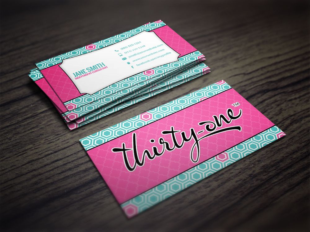 Modern businesscard mlm marketing thirtyone thirty one business cards reheart Images
