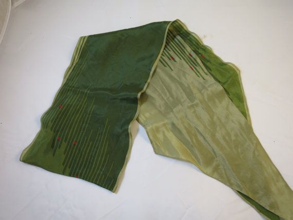Vintage Silk Scarf Designer Signed Vera Neumann  1970's Long 68 inch Angled Ends Neck or Head Scarf Dark Light Green