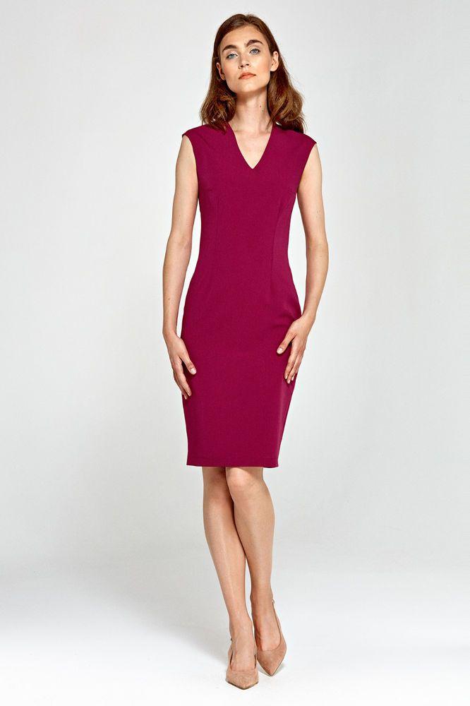 Robe rouge bordeaux élégante femme sans manches midi NIFE S87 36 38 40 42 44 082cb58ef880