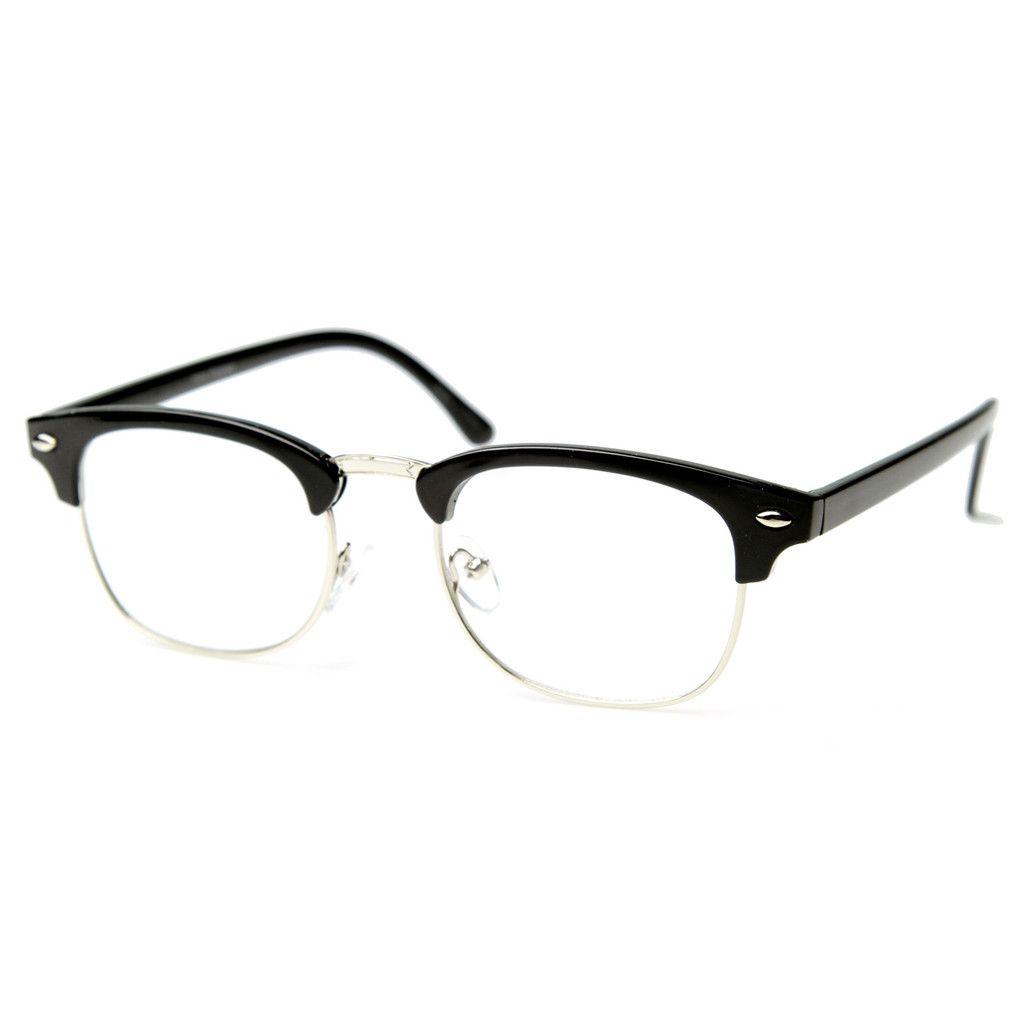 6abcc482a6d Classic Half Frame Clubmaster Wayfarer Clear Lens Glasses 8494 Black ...