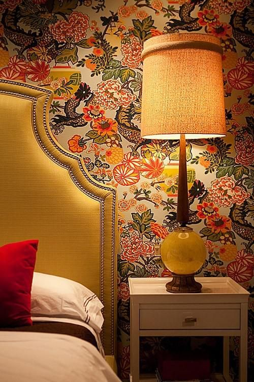 Chinoiserie Wallpaper Yellow Nailhead Headboard And A Statement Vintage Lamp