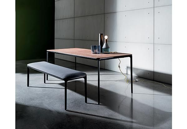 Slim Wood Dining Table Bench Sovet Italia Living In The - Slim dining table with bench
