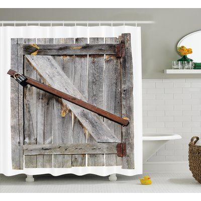 East Urban Home Rustic Aged Wooden Barn Door Single Shower Curtain