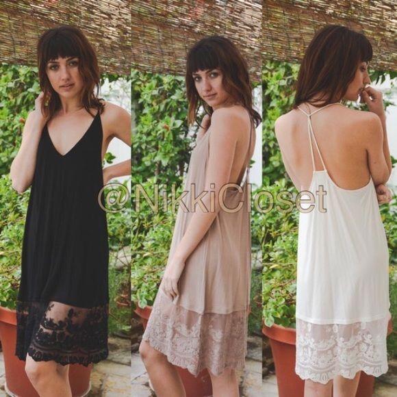 Ivory Lace tunic top midi slip dress extender Cami