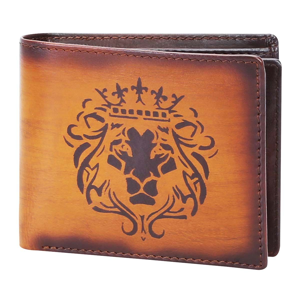 26148df17a BUY BRUNE VEG TANNED LION KING HAND PAINTED LEATHER WALLET FOR MEN ...
