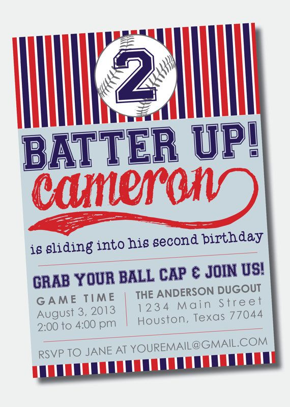 Baseball birthday party invitation sports birthday party baseball birthday party invitation stopboris Gallery