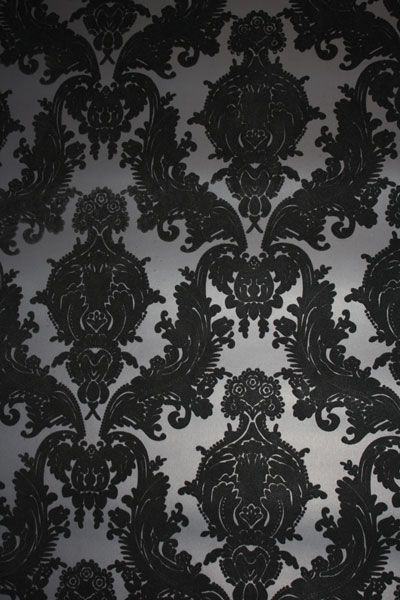 Black Heirloom Damask Velvet Flocked Wallcovering VCC0858