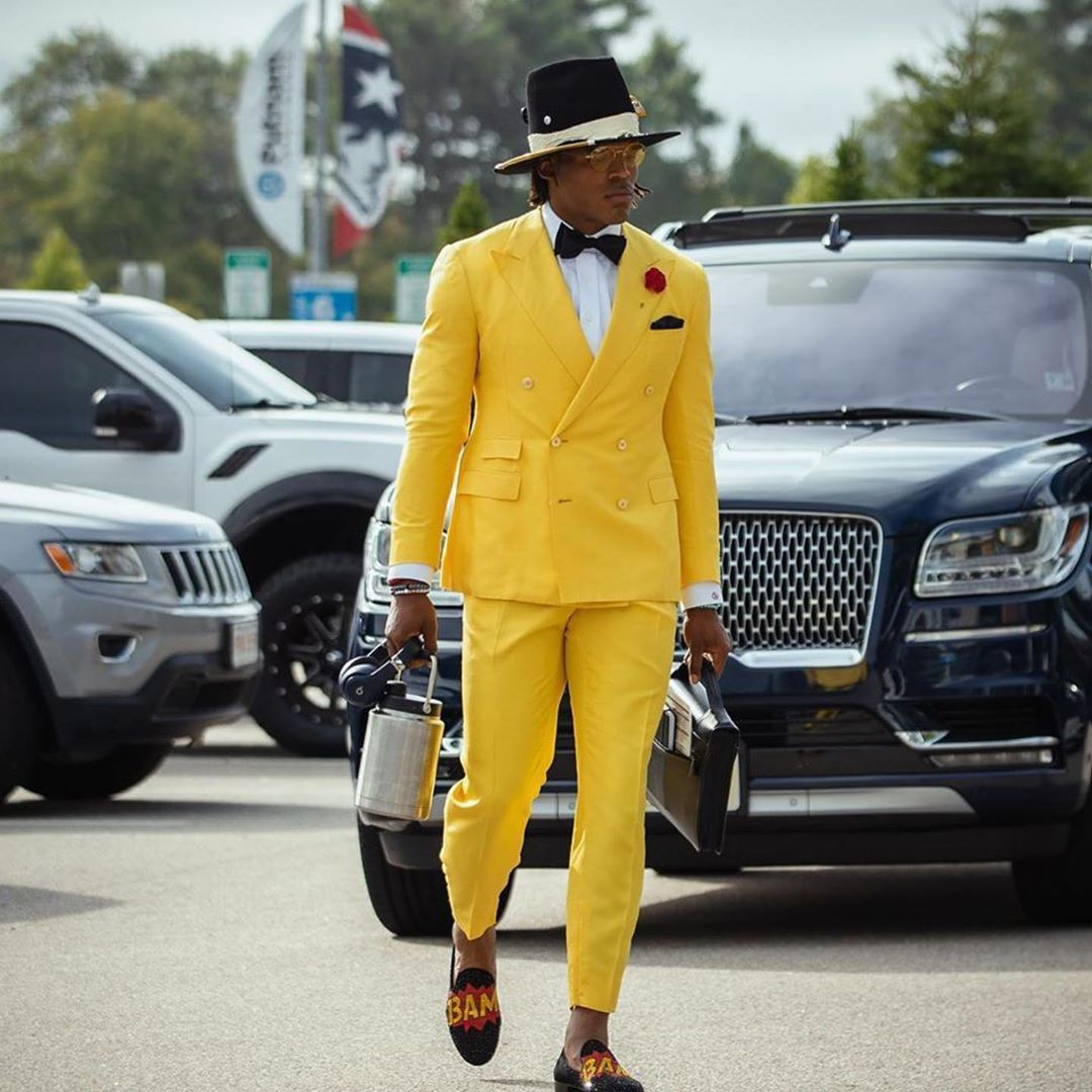 Fashion Bomb Daily On Instagram Camnewton Arrived At His 1st Game As A Patriots Qb Wearing Giuseppezanotti In 2020 Yellow Suit Fashion Double Breasted Suit Jacket