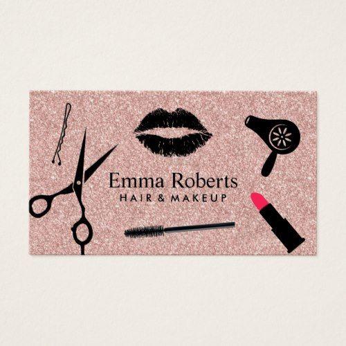 Makeup artist hair stylist salon rose gold glitter business card makeup artist hair stylist salon rose gold glitter business card colourmoves