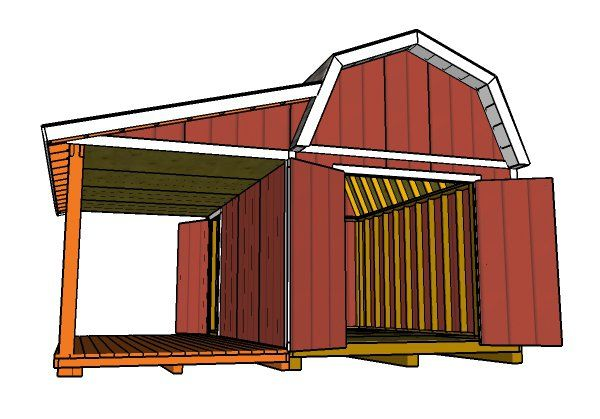 10x16 Gambrel Shed With Porch Plans Shed With Porch Barns Sheds Shed Plans