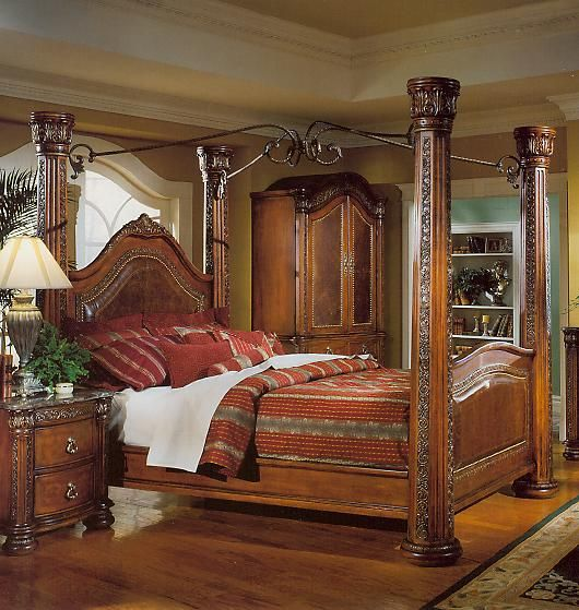 Wood and wrought iron headboards brown cherry post bed canopy wood bedroom furniture spanish for Wrought iron and wood bedroom sets
