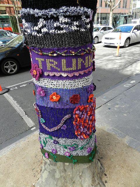 yarn bomb by artist Bali - photos outside Trunk restauranton Twilight Taggers Flickr