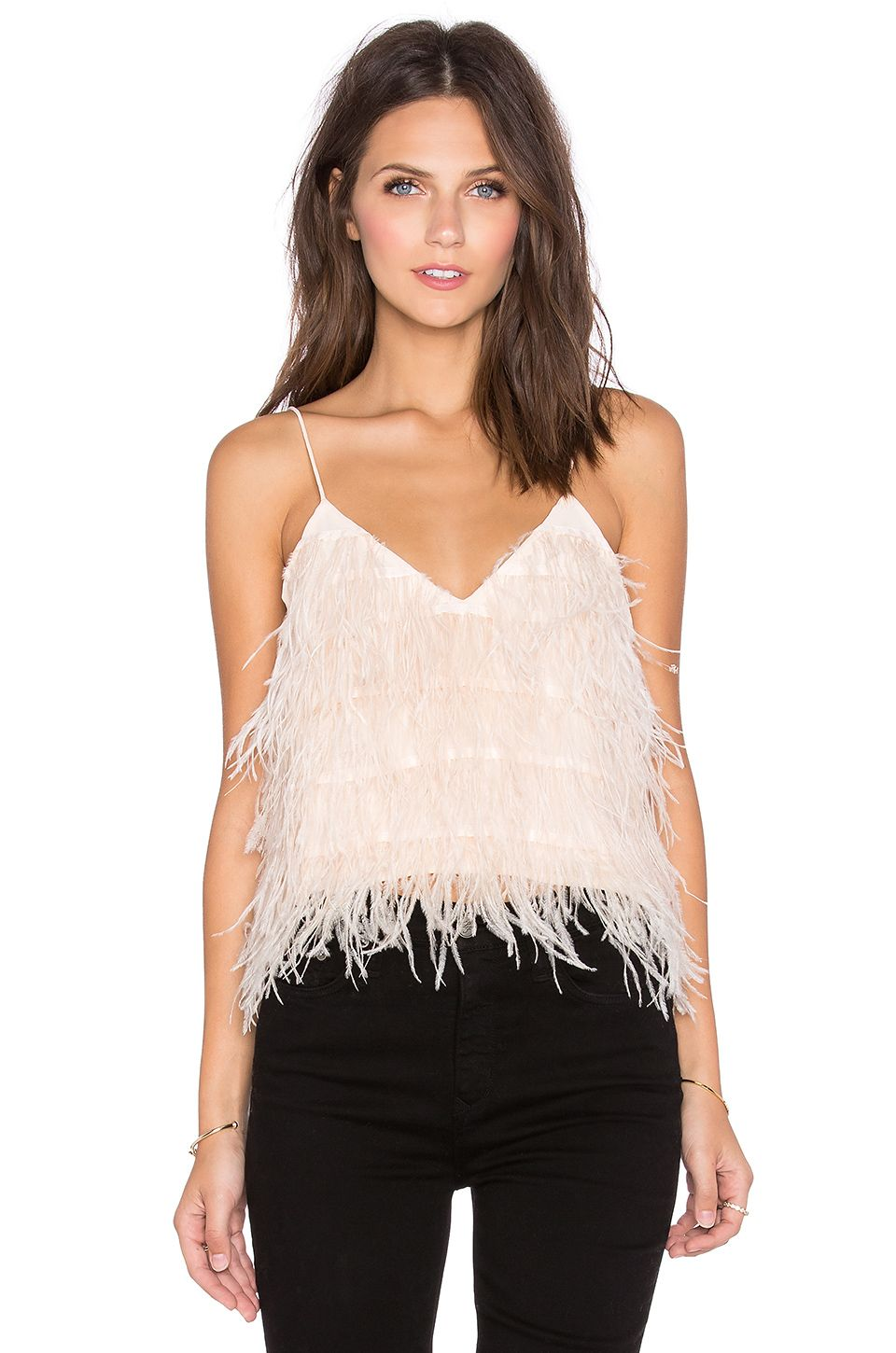 54b86f03eec667 Lucy Paris Tiny Dancer Feather Cami in Blush