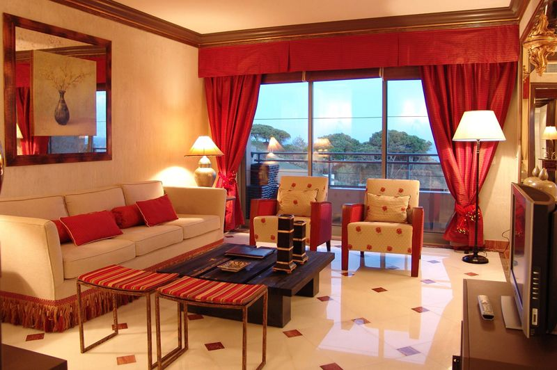 Modern Living Room With Red Curtains And Floor Tiles Design Ideas Http://www