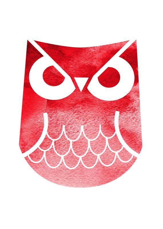 Red Horned Owl 5x7 Print by BlackCottageHandmade on Etsy, $12.00