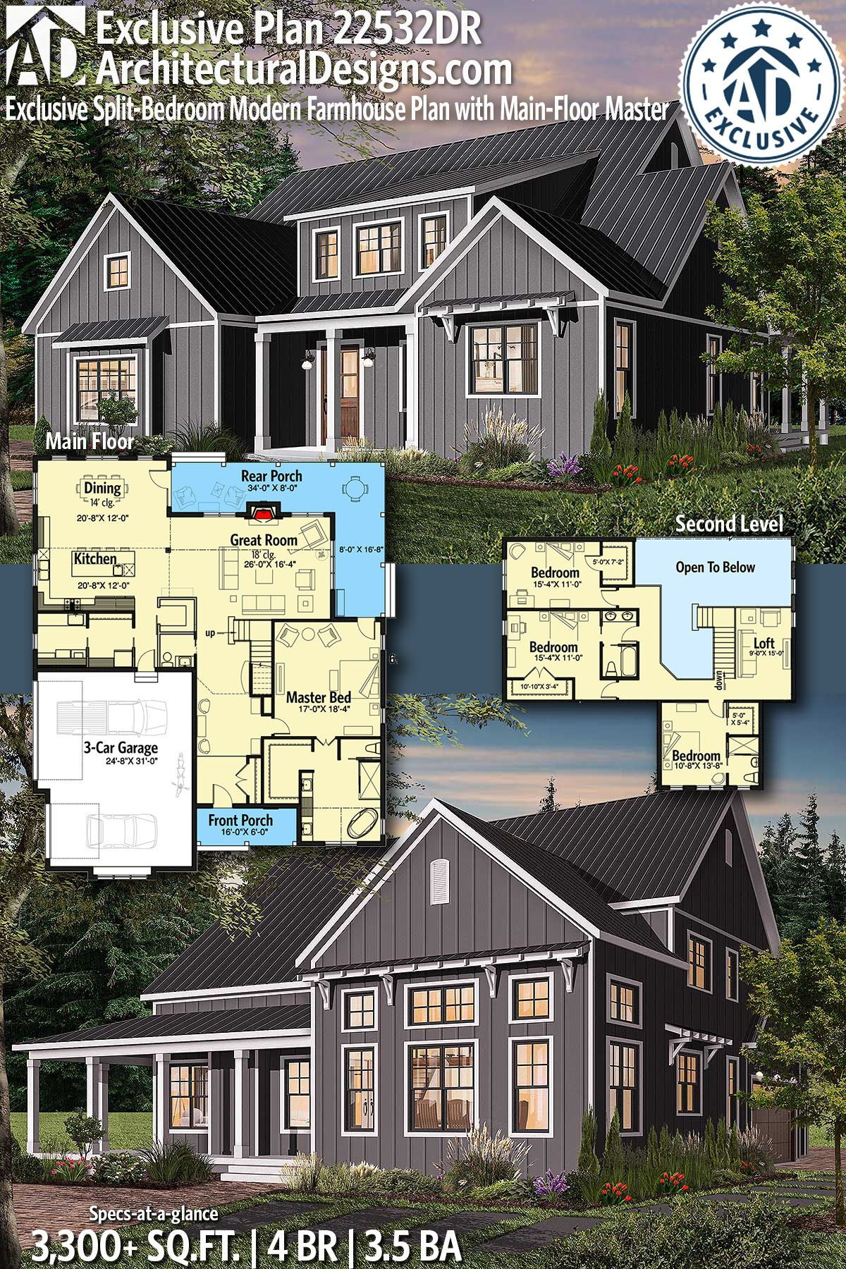 Architectural Designs Exclusive Farmhouse Plan 22532DR gives