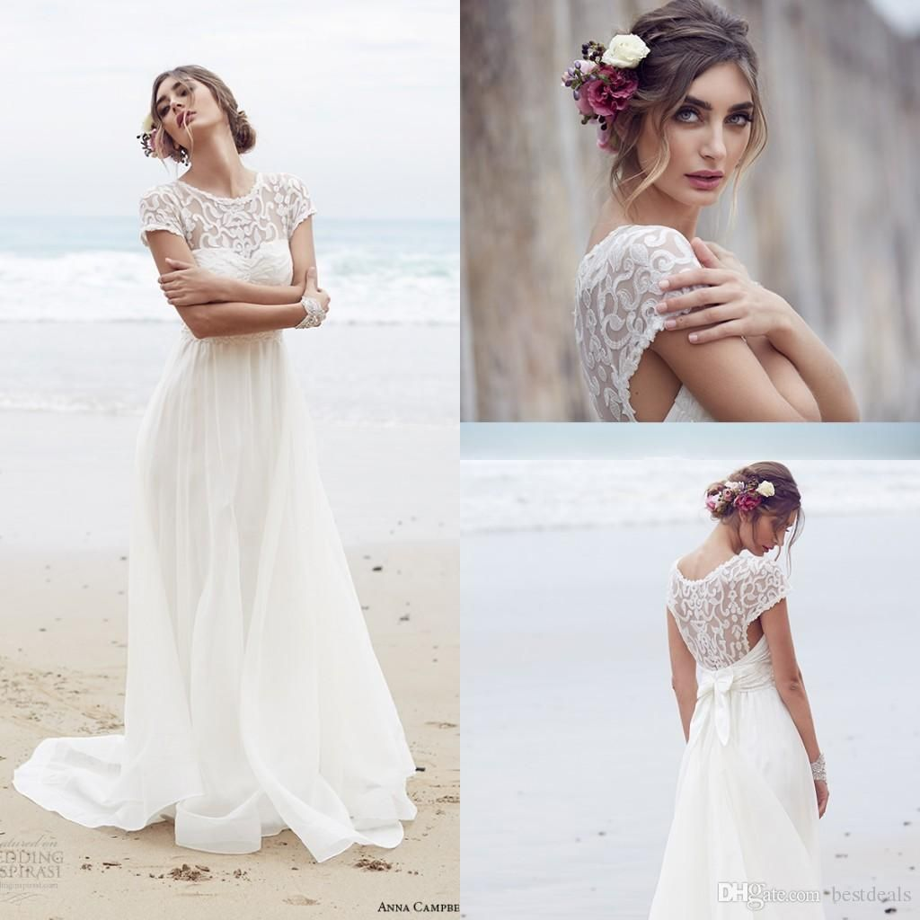 Short sleeves lace anna campbell wedding dresses spring summer