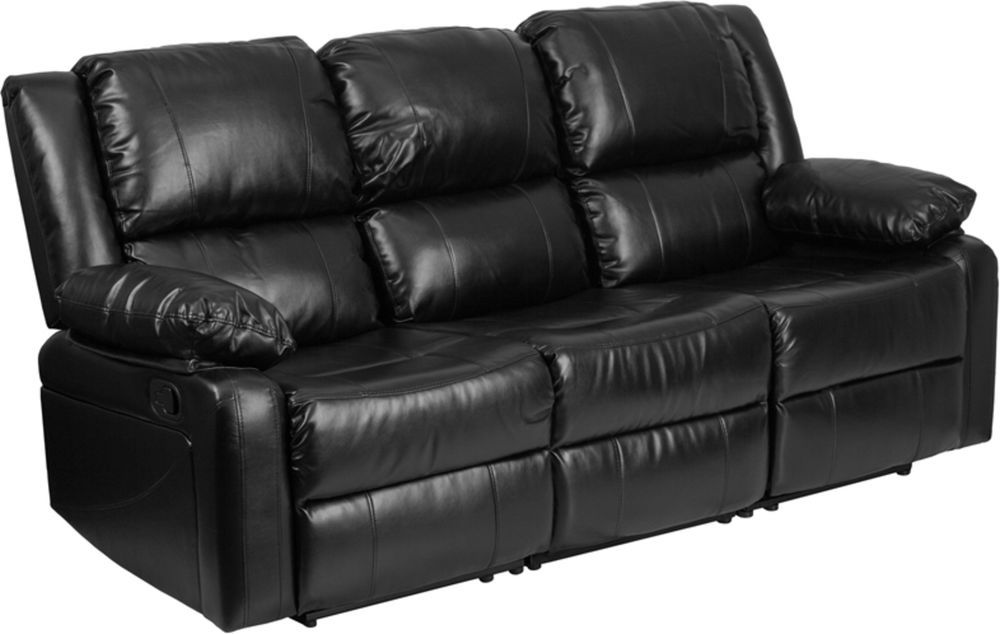 Modern Leather 3 Seater Recliner Sofa With 2 Built In Recliners
