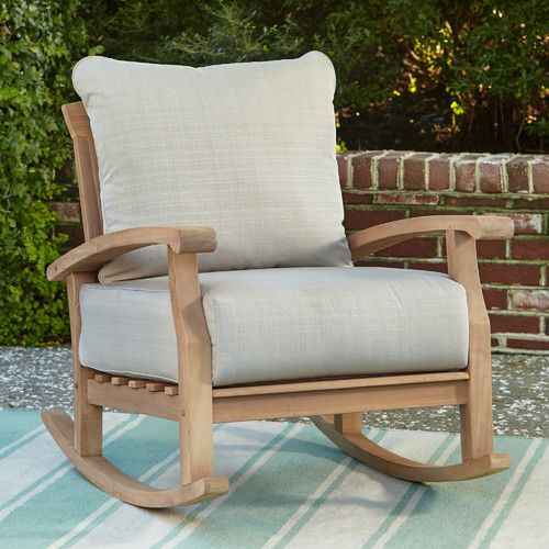 Brayan Rocking Chair With Cushions Patio Rocking Chairs Teak