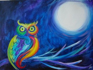 Bright Owl - www.paintnite.com #PaintNite #LiveCreatively