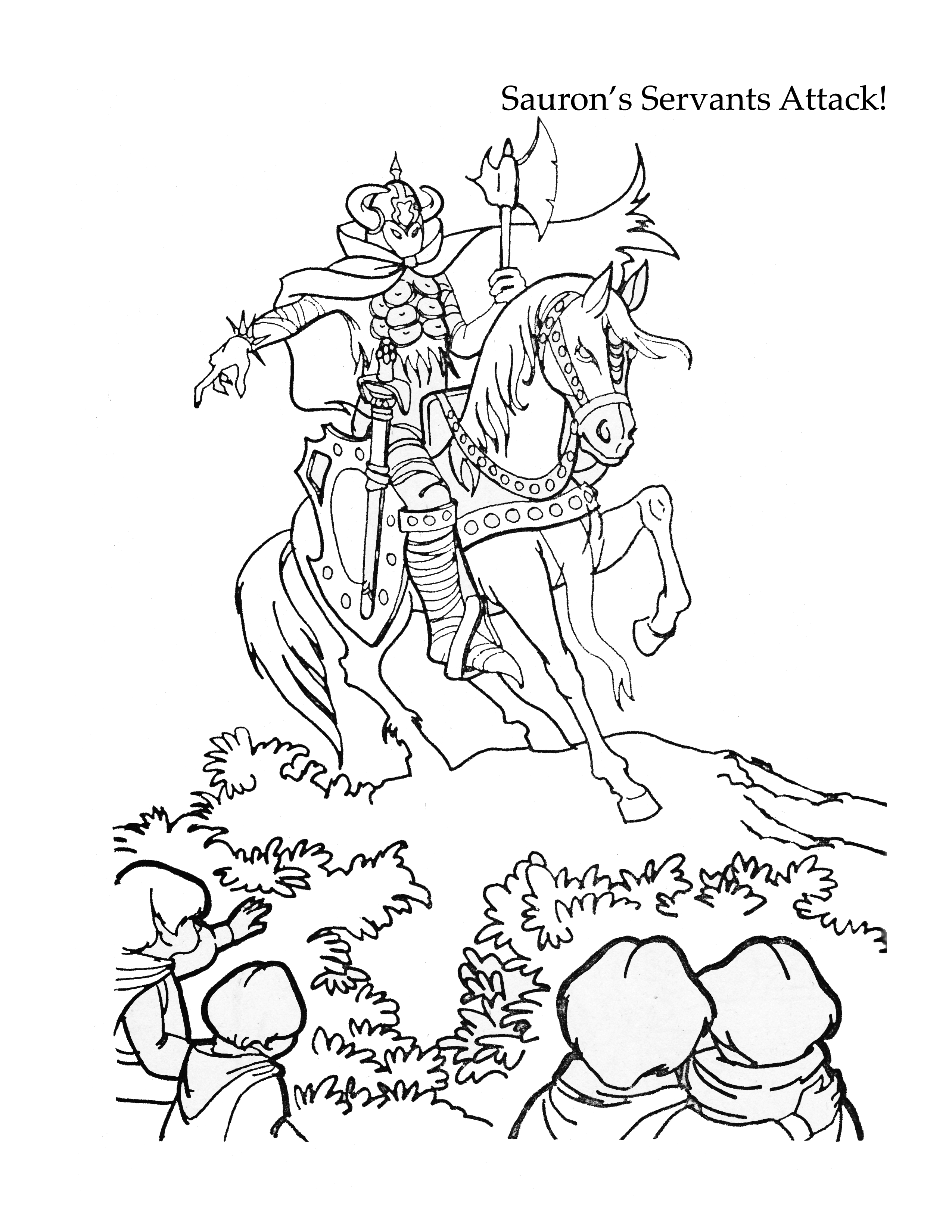 A coloring page from the Lord of the Rings Coloring Book. Whitman ...