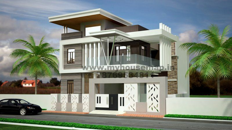 Front elevation india house map elevation exterior for Exterior 3d design