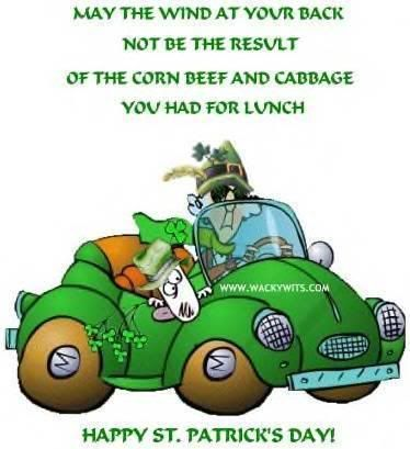 Maxine St. Patrick's Day humor:  May the wind at your back not be the result of the corn beef and cabbage you had for lunch.  Green!  MAXPady.jpg (374×409)
