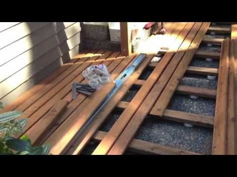 example of how to install a floating deck onto an unlevel ... on Unlevel Backyard Ideas id=33469