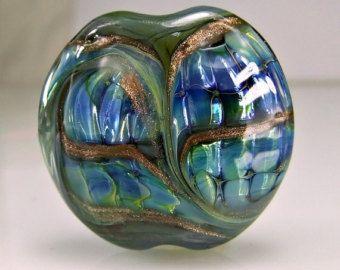 Blue Silvered Ivory Organic Lampwork Focal Bead от skyvalleybeads