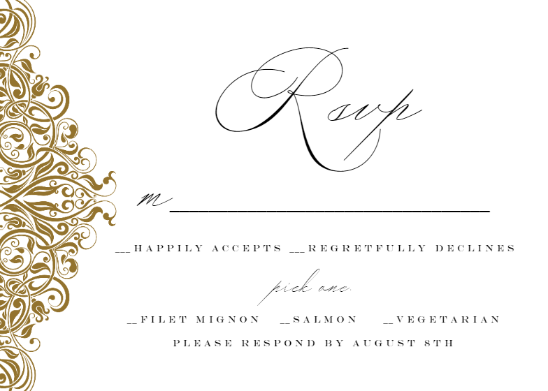 Formal Ornate Rsvp Card Invitations Printable Diy Template Rsvp Replycards Reply Cards Rsvp Card Invitations